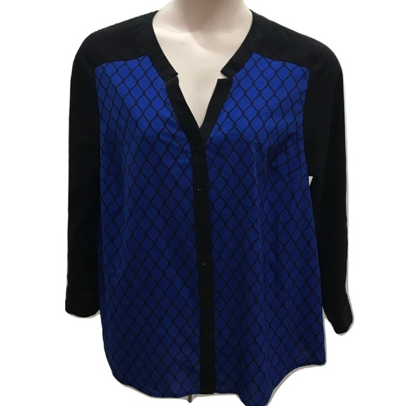 082291b095667 Catherines Other - Catherines Blouse Size 0X Blue Black Plus Size